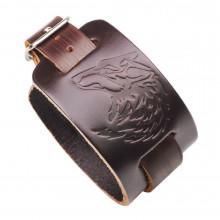 BS374-1 Кожаный браслет Волк, 270х40мм
