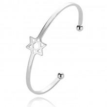 BS408-S Безразмерный браслет Звезда Давида, цвет серебряный
