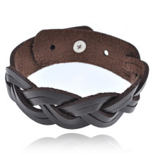 BS455 Плетёный кожаный браслет, 18мм