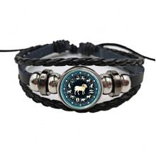 BS472-01 Плетёный браслет Знаки Зодиака Овен, цвет чёрный