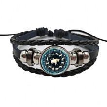 BS472-02 Плетёный браслет Знаки Зодиака Телец, цвет чёрный