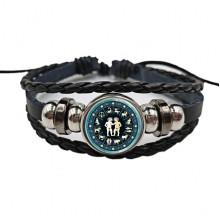 BS472-03 Плетёный браслет Знаки Зодиака Близнецы, цвет чёрный