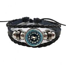 BS472-04 Плетёный браслет Знаки Зодиака Рак, цвет чёрный