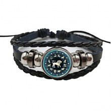 BS472-05 Плетёный браслет Знаки Зодиака Лев, цвет чёрный
