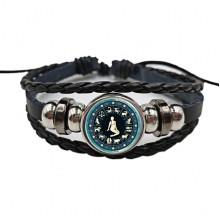 BS472-06 Плетёный браслет Знаки Зодиака Дева, цвет чёрный