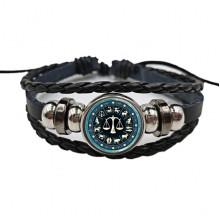 BS472-07 Плетёный браслет Знаки Зодиака Весы, цвет чёрный