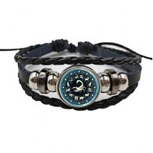 BS472-08 Плетёный браслет Знаки Зодиака Скорпион, цвет чёрный