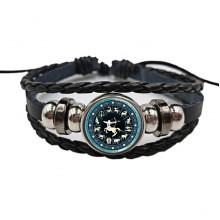 BS472-09 Плетёный браслет Знаки Зодиака Стрелец, цвет чёрный