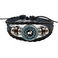 BS472-10 Плетёный браслет Знаки Зодиака Козерог, цвет чёрный