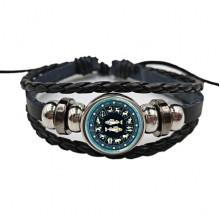 BS472-12 Плетёный браслет Знаки Зодиака Рыбы, цвет чёрный
