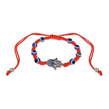 BS483 Плетёный браслет Хамса из красной нити