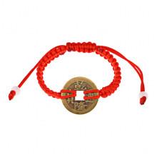 BS486 Плетёный браслет с монетой Фэн-Шуй из красной нити