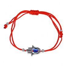 BS487 Плетёный браслет Хамса из красной нити
