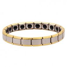 BSM005-SG Магнитный браслет здоровья с турмалином 9мм, стрейч, нерж.сталь, серебр.,золот.