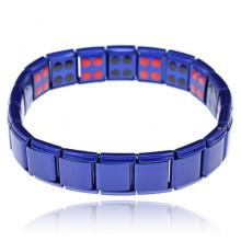 BSM007-BL Магнитный стрейч-браслет с турмалином, 12мм, цвет синий