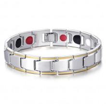 BSM012-2 Магнитный Браслет здоровья, цвет серебр., золот., ширина 11мм