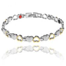 BSM023-2 Магнитный браслет Сердце, 21см, цвет серебряно-золотой