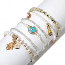 BSN008 Набор из шести тонких браслетов, цвет белый, золот.