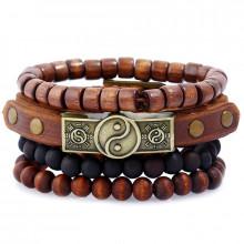 BSN012 Набор 1 кожаный браслет Инь-Ян, 3 деревянных