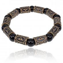BSRL009 Рунический браслет Турисаз с натуральным камнем Чёрный агат