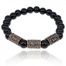 BSRL025 Рунический браслет Богатство на всех уровнях бытия, Чёрный агат