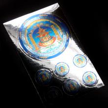 BUD004-05 Буддийские наклейки 1шт.х6,7см, 6шт.х2см, серебристые