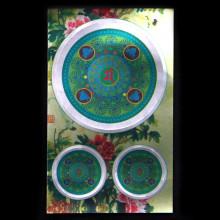 BUD004-18 Буддийские наклейки 1шт.х4,3см, 2шт.х2см, серебристые