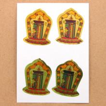 BUD004-20 Буддийские наклейки Калачакра 4см, 4шт.