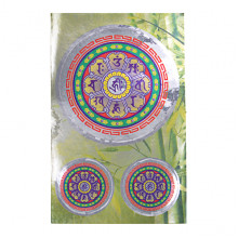 BUD004-25 Буддийские наклейки Ом Мани Падме Хум, 8х5см, 3шт.