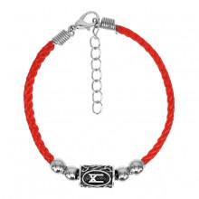 BZR023 Красный браслет с руной Манназ