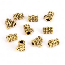 FL1018G Бейлы для бижутерии 10шт. 8х8мм, отверстие d.2мм, цвет золот.