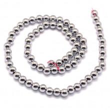 FB8-030 Бусины Магнитный гематит 8мм на нити, цвет серебро