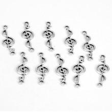 FC1007S Коннекторы для бижутерии 10шт. Скрипичный ключ 29х10мм, цвет серебр.