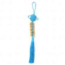 FEP024-02 Подвеска Фэн-Шуй 5 монет 29см, цвет голубой