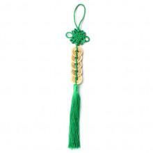 FEP024-03 Подвеска Фэн-Шуй 5 монет 29см, цвет зелёный