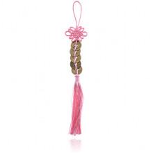 FEP024-07 Подвеска Фэн-Шуй Пять Монет и Узел, 30см, цвет розовый