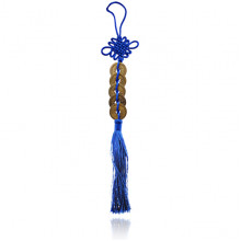 FEP024-08 Подвеска Фэн-Шуй Пять Монет и Узел, 30см, цвет синий
