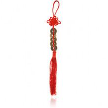 FEP024-09 Подвеска Фэн-Шуй Пять Монет и Узел, 30см, цвет красный