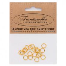 """FUK0001G """"Фурниторочка"""" 20 одинарных колец d.7мм, толщина 0,8мм, цвет золот."""