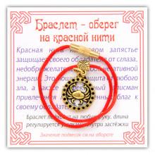 KB051-02 Браслет на красной нити Зодиак - Рак, цвет золот.