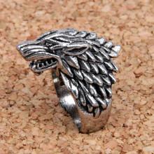 KL024-10 Кольцо Волк, размер 10 (20мм), цвет серебряный
