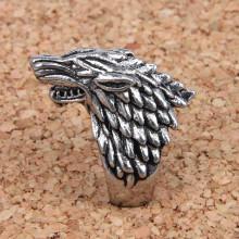 KL024-8 Кольцо Волк, размер 8 (18мм), цвет серебряный
