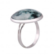 KL052 Кольцо Луна безразмерное, d.2см, цвет серебр.