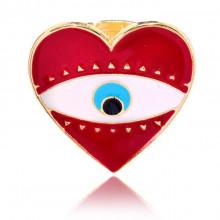KL113 Безразмерное кольцо от сглаза Сердце, цвет красный