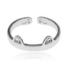 KL119-S Безразмерное кольцо Кошачьи ушки, цвет серебряный