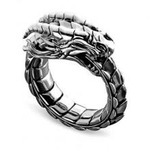 KL147-10 Кольцо Уроборос, тёмный металл, размер 10