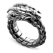 KL147-11 Кольцо Уроборос, тёмный металл, размер 11