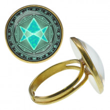 KLB004 Кольцо Магическая гексаграмма безразмерное