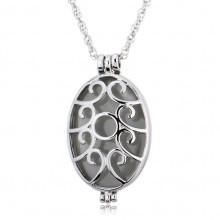 LGK024 Светящийся кулон - аромамедальон с цепочкой Овал 40х24мм, цвет серебр.