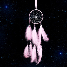 LS001-2 Подвеска ловец снов, 500х10см, розовая